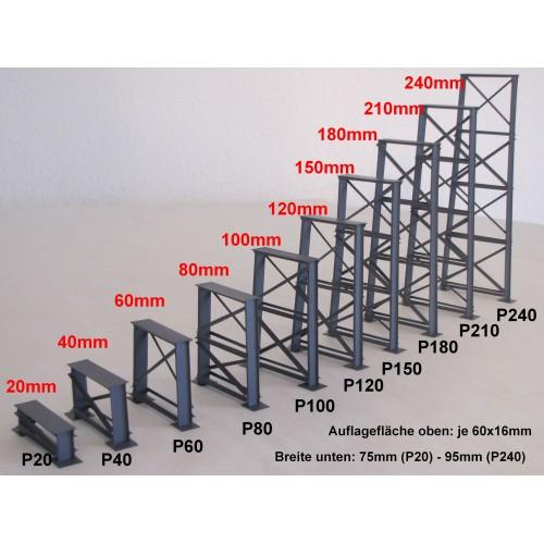 HA17090 P40 Gauge H0 Bridge pier, 40mm, gray