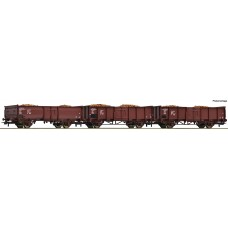 RO76081 3 piece set: Open goods wagons, DR