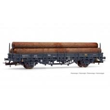 ET1659 R.N./RENFE, 2-axle wagon Kbs loaded with logs, dark grey livery, period III