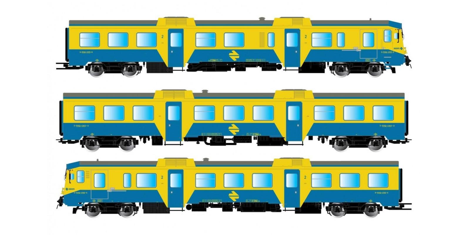 ET3421 RENFE, 3-unit DMU class 592 in original blue/yellow livery, period IV-V