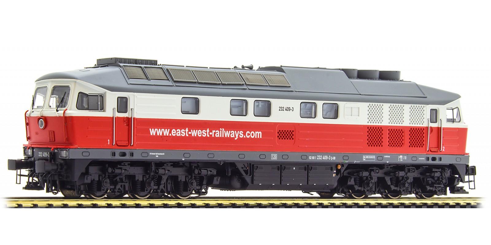 ES31351 Diesel Loc 232 409, East-West, red-white, Era VI, Sound+Smoke, DC/AC