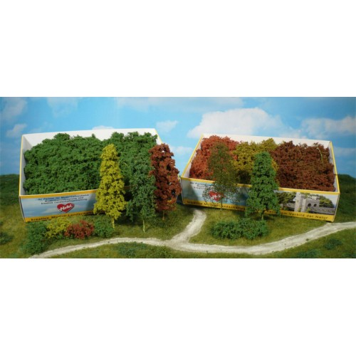 HE1631 Leaf trees and bushes, assorted, 15 pcs. light green