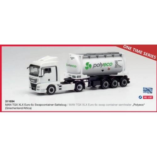 "HR311694 MAN TGX XLX Euro 6c swap container semitrailer ""Polyeco"" (Greece/Attica)"