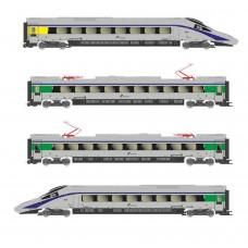 "LI1673 FS, 4-unit base set EMU class ETR 610 in ""Cisalpino""-livery, contains 2 powerheads (one of them driven) and 2 intermediate coaches,period VI"