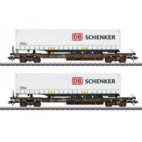 """47110 """"DB Schenker"""" Deep Well Flat Car Set"""