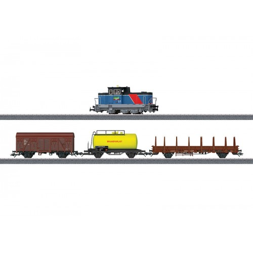 """029468_01  Diesel switch engine and Set of 3 cargo wagons from Starter Set """"Era VI Swedish Freight Train"""", w/o packing"""