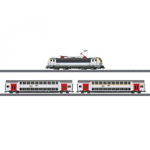 """029474_01 Εlectric locomotive and 2 NMBS/SNCB bi-level cars from starter set """"Era VI Passenger Train"""" , w/o packing"""