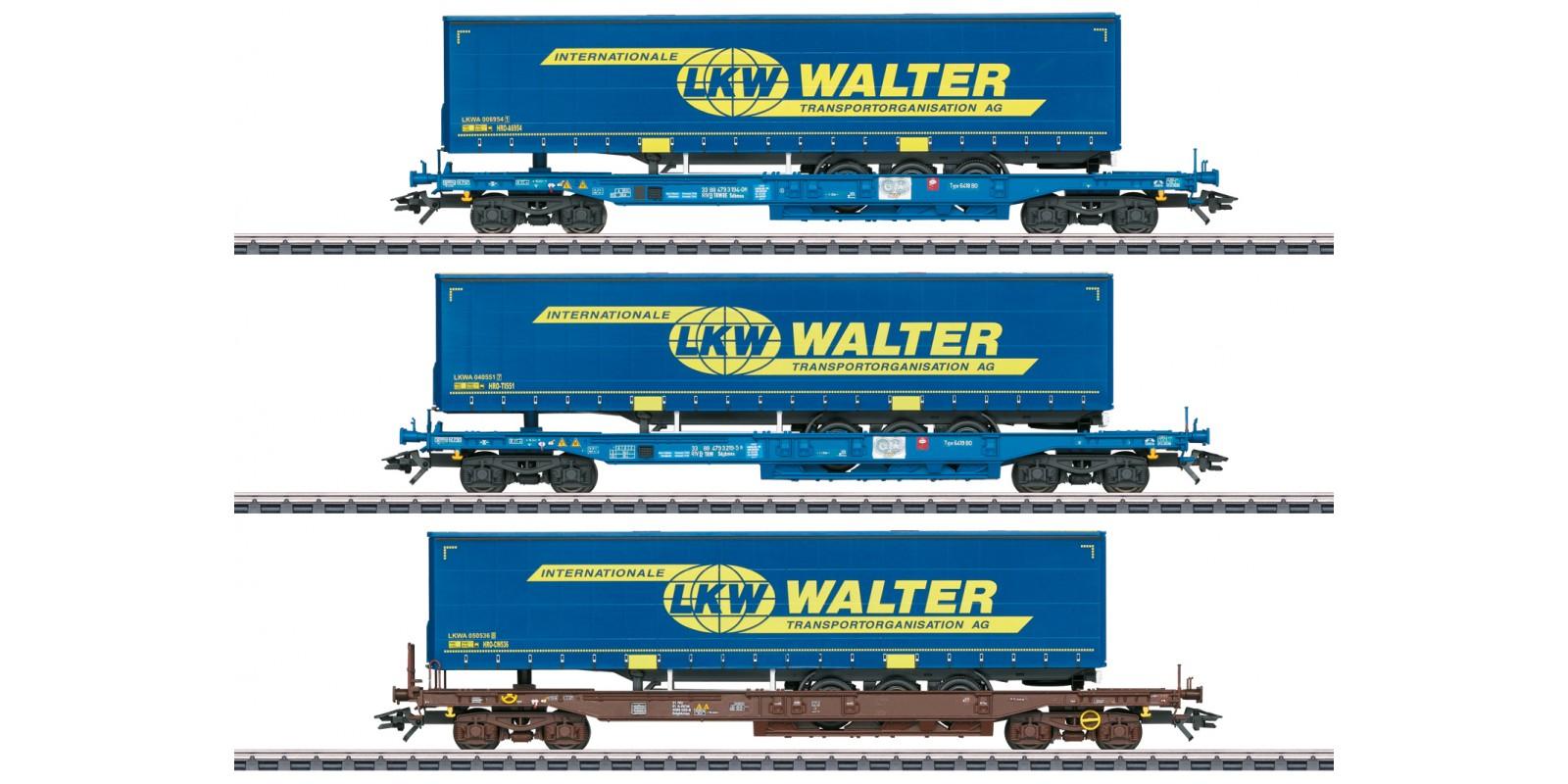 047120 LKW Walter Deep Well Flat Car Set