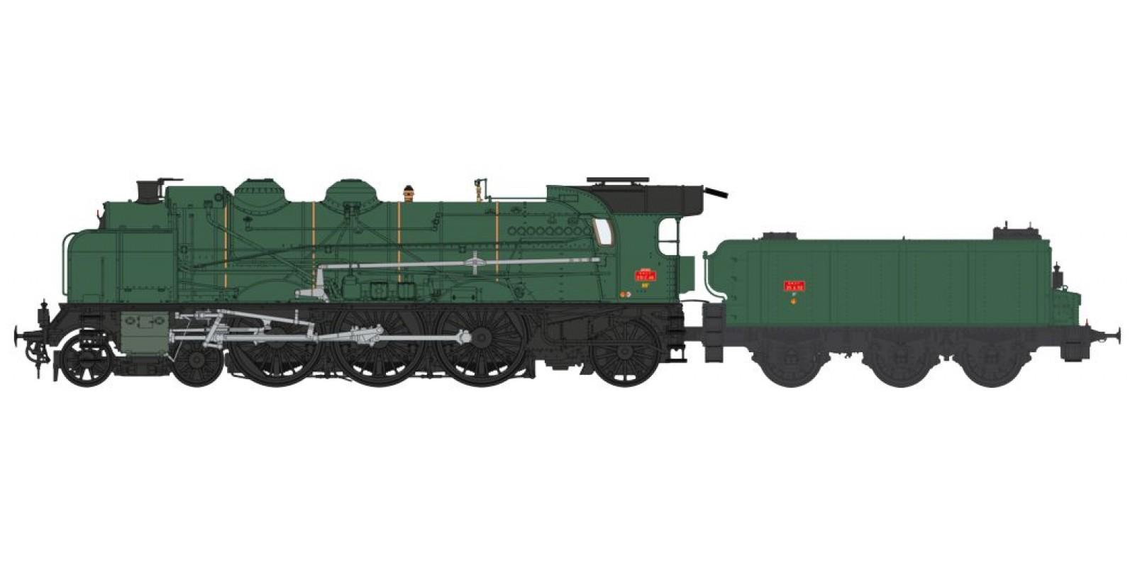 REMB137S 5-231 E 46 MONTARGIS depot, simple smoke stack, smoke deflectors, Fives-Lille air pump, ACFI preheating, 25m³ tender, SNCF green - DCC Sound & Smoke