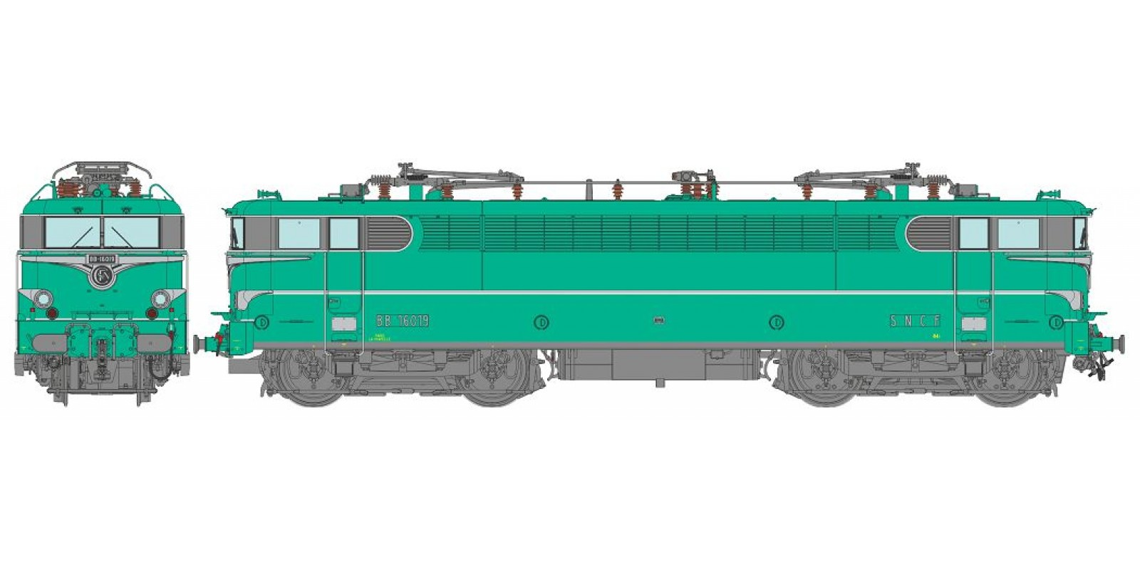 REMB142S BB 16019 Green with embellishers - LA CHAPELLE - DCC Sound Functional Pantos