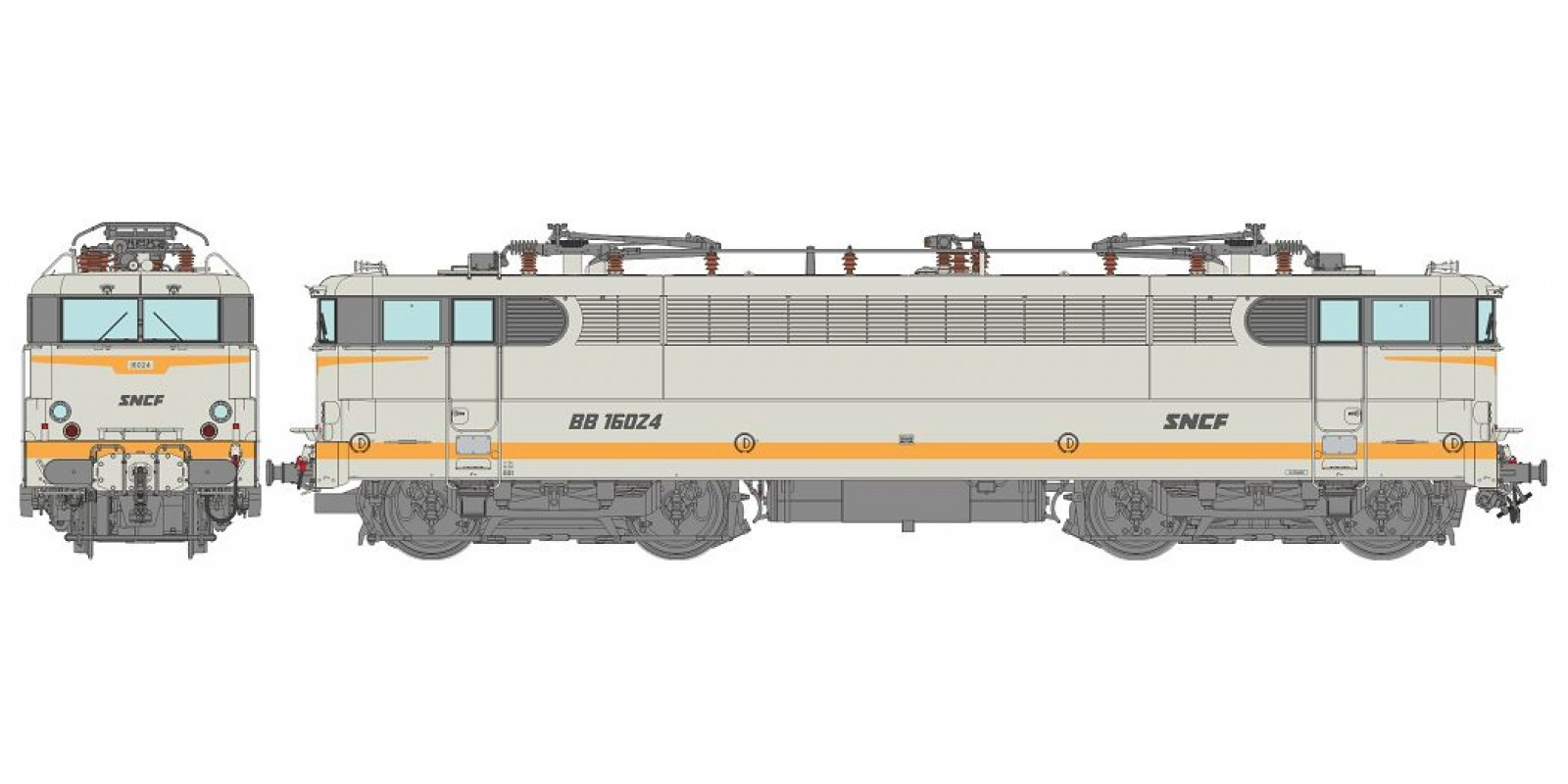 REMB143S BB 16024 Grey livery downstroke SNCF logo, Preserved loco - DCC Sound Functional Pantos