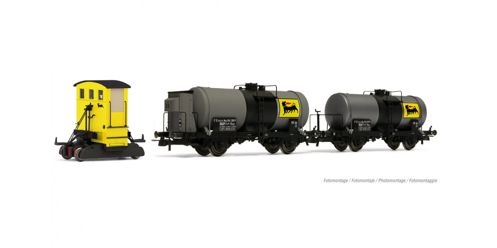 RI2877D AGIP, Sogliola in yellow livery with two 2-axle tank wagons, with DCC decoder