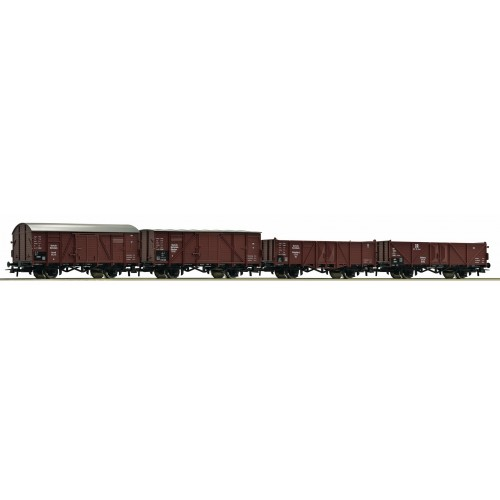 Ro44003_01 Set of 4 Cargo Railcars of the German Imperial Railways (DRG), Era II
