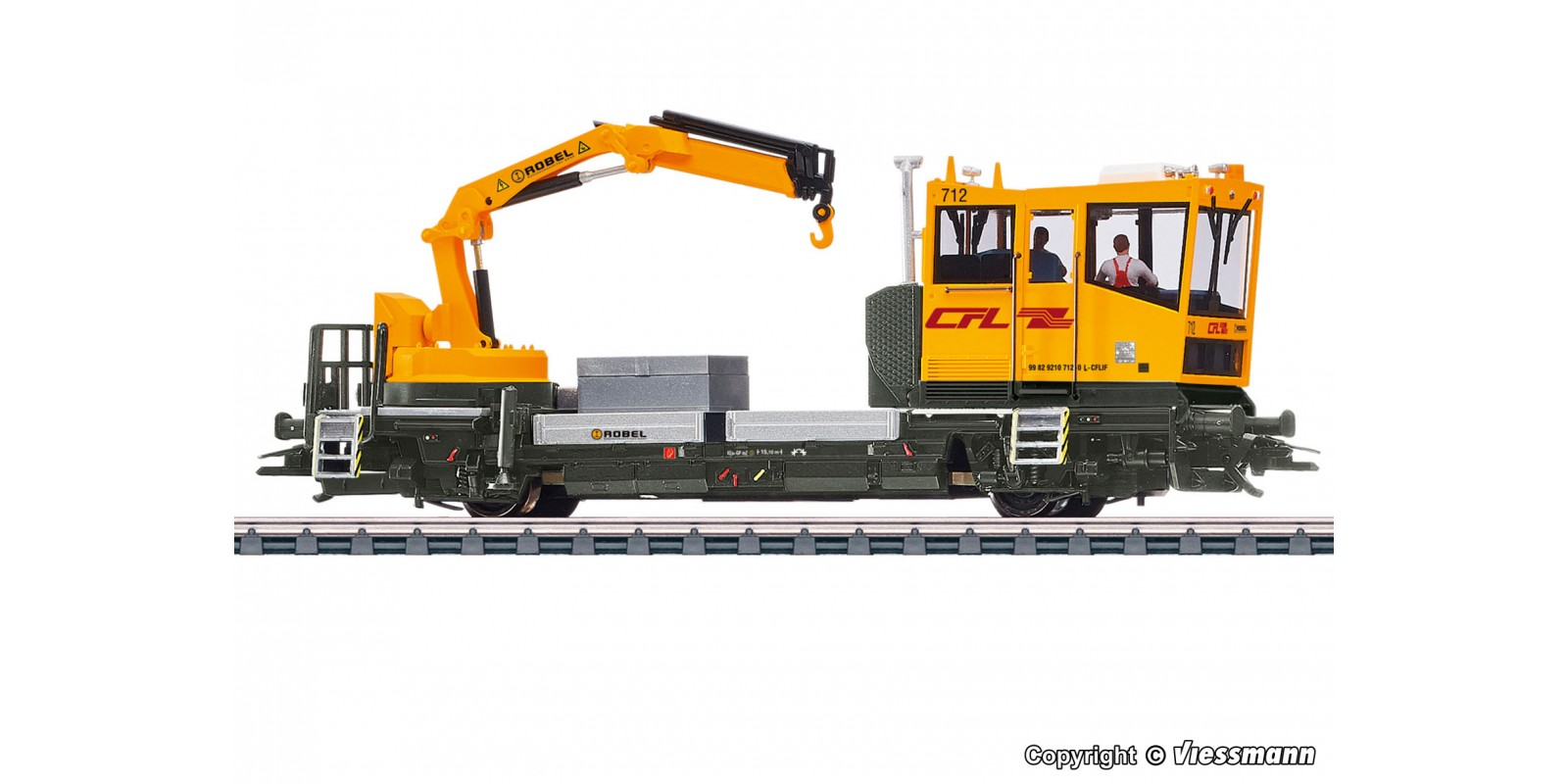 VI2628 H0 ROBEL track motor car 54.22 CFL version with motorized crane, functional model, 2 rail version